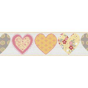 faixa de papel de parede de coração laranja e cinza