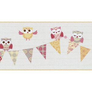 Faixa de papel de parede de coruja laranja e rosa