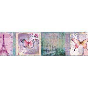 border de papel de parede borboletas e paris
