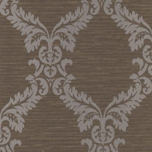 papel de parede adamascado marrom