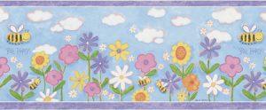 faixa de papel de parede | flores e abelinha