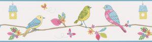 faixa de papel de parede infantil de pássaros e flores