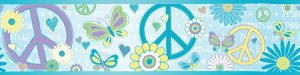 faixa de papel de parede love and peace