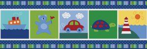 faixa de papel de parede infantil carros e ursinho