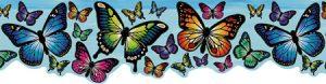 faixa de papel de parede borboletas azul