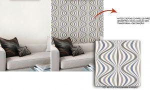 antes e depois com papel de parede