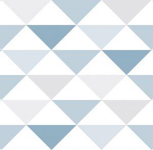 Papel de Parede Geométrico triângulos azul - Ref: 3601