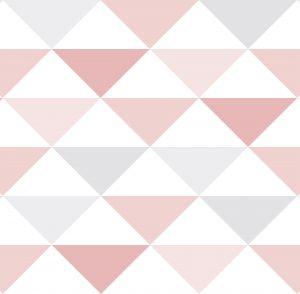 Papel de Parede Geométrico Rosa e Cinza - Ref: 3602