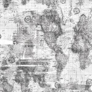 Papel de Parede Mapa Cinza - Ref: 3648