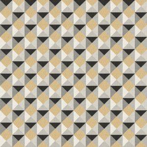 Papel de Parede Geométrico Bege escuro com Preto