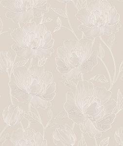 Papel de Parede Floral Bege 3802