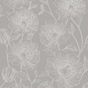 Papel de Parede com Flores Cinza 3803