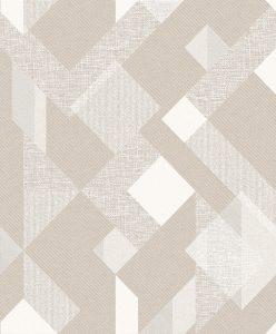 Papel de Parede Geométrico Bege com Branco 3807