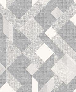 Papel de Parede Simétrico Degrade Cinza com Branco 3809