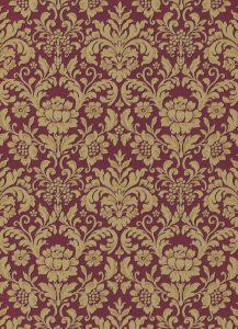 Papel de parede arabesco vermelho dourado 6378-06