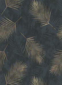 Papel de parede folhas preto dourado 02579-40