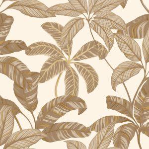 Ref : 4103 - Papel de parede Florido Dourado e Creme
