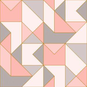 Ref: 4107 - Papel de Parede Geométrico Rosa