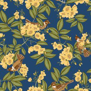 Ref: 4110 - Papel de Parede floral com Pássaros.