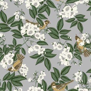 4113 - Papel de Parede floral com flores Brancas.