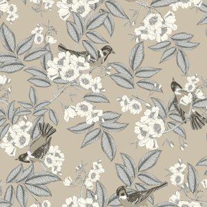 Ref: 4114 - Papel de Parede ramos de flores com pássaros.