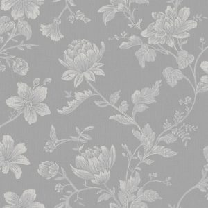 Ref: 4131 - Papel de parede com ramos de rosas brancas e fundo cinza.
